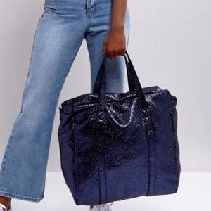 Bershka Sparkly Tote Weekender Bag NWT